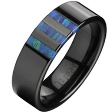 (Wholesale)Black Tungsten Carbide Abalone Shell Ring - TG2338