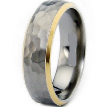 (Wholesale)Tungsten Carbide Hammered Ring - TG2355