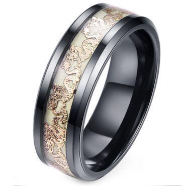 (Wholesale)Black Tungsten Carbide Dragon Glow Ring - TG2376