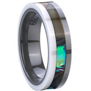 (Wholesale)Tungsten Carbide Abalone Shell Ceramic Ring-2376
