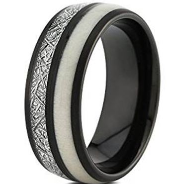 (Wholesale)Black Tungsten Carbide Antler Imitate Meteorite Ring-