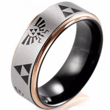 (Wholesale)Tungsten Carbide Black Rose Legend of Zelda Ring-2410