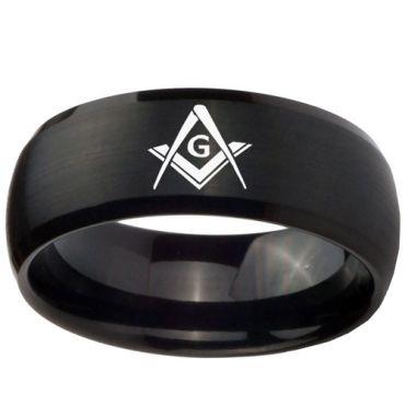 (Wholesale)Black Tungsten Carbide Masonic Ring - TG2447