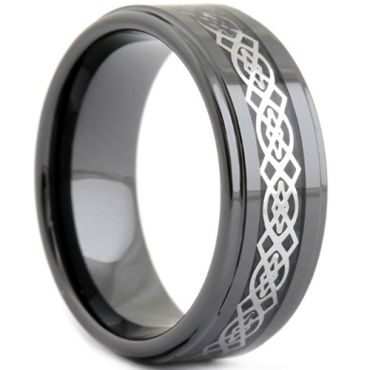 (Wholesale)Black Tungsten Carbide Celic Inlays Ring - TG2450