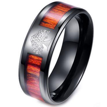 (Wholesale)Black Tungsten Carbide Wood Ring - TG2474