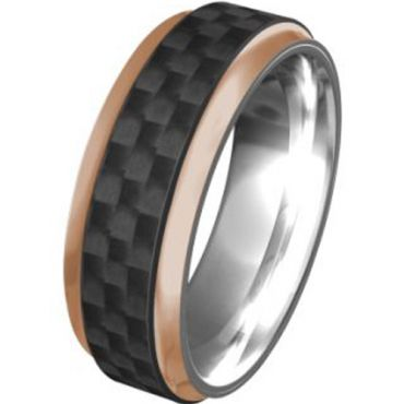 (Wholesale)Tungsten Carbide Ring With Carbon Fiber - TG250