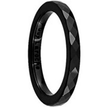 (Wholesale)Black Tungsten Carbide Faceted Ring - TG2522