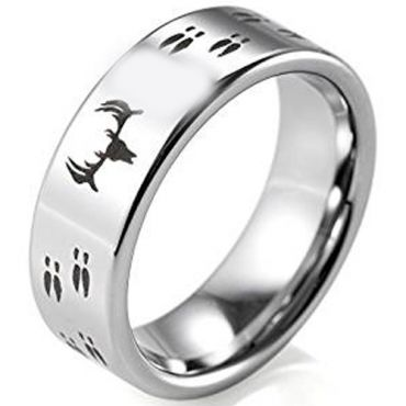 (Wholesale)Tungsten Carbide Pipe Cut Deer Track Ring - TG2531
