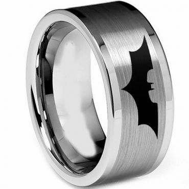 (Wholesale)Tungsten Carbide Batman Double Groove Ring - TG2549