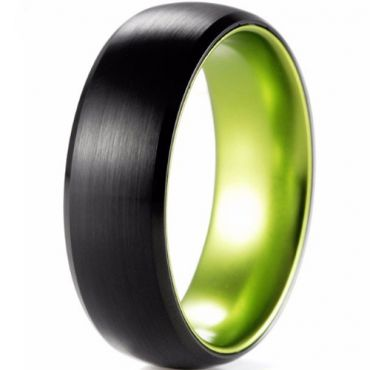 (Wholesale)Tungsten Carbide Aluminum Black Green Ring-2565