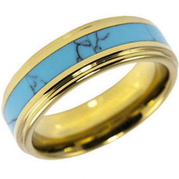 (Wholesale)Tungsten Carbide Imitate Turquoise Ring - TG2573AA
