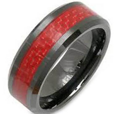 (Wholesale)Black Tungsten Carbide Carbon Fiber Ring-TG2590