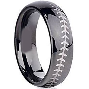 (Wholesale)Black Tungsten Carbide BaseBall Ring - TG2603