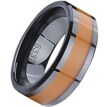 (Wholesale)Black Tungsten Carbide Ring With Ceramic - TG2713