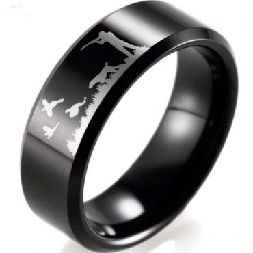 (Wholesale)Black Tungsten Carbide Outdoor Hunting Ring - TG2720