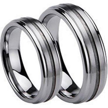 (Wholesale)Tungsten Carbide Center Groove Ring - TG273