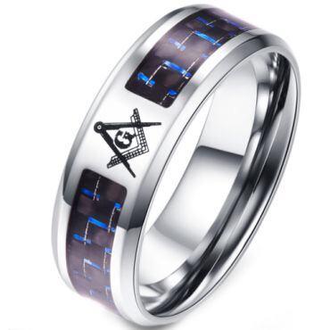 (Wholesale)Tungsten Carbide Masonic Carbon Fiber Ring - TG2759