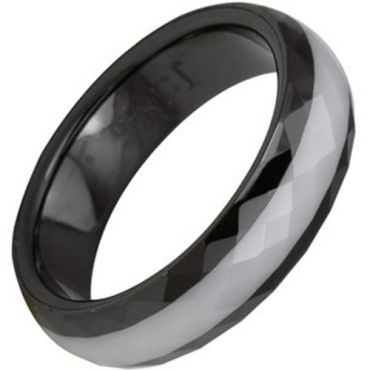 (Wholesale)Black White Ceramic Faceted Ring - TG2780