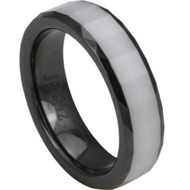 (Wholesale)Black White Ceramic Faceted Ring - TG2781