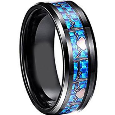 (Wholesale)Black Tungsten Carbide Heartbeat Carbon Fiber Ring -