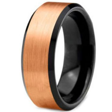 (Wholesale)Tungsten Carbide Black Rose Beveled Edges Ring-2796