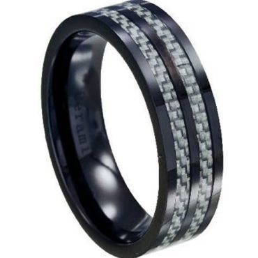 (Wholesale)Black Tungsten Carbide Ring With Carbon Fiber-TG2814