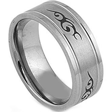 (Wholesale)Tungsten Carbide Celtic Double Groove Ring - TG2873