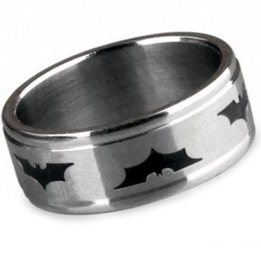 (Wholesale)Tungsten Carbide Batman Double Groove Ring - TG2878