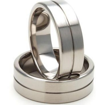 (Wholesale)Tungsten Carbide Center Groove Ring - TG2886