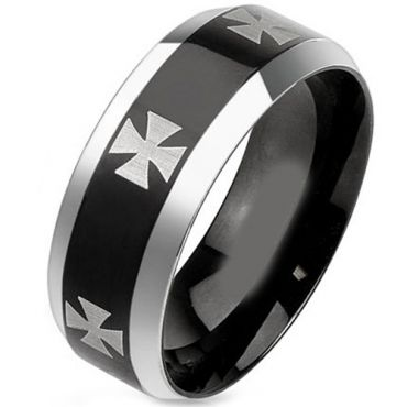 (Wholesale)Tungsten Carbide Cross Beveled Edges Ring - TG2909