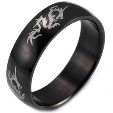 (Wholesale)Black Tungsten Carbide Dragon Ring - TG2932