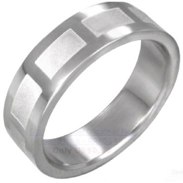 (Wholesale)Tungsten Carbide Checkered Flag Ring - TG2972