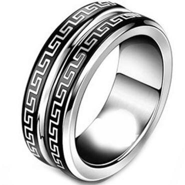 (Wholesale)Tungsten Carbide Triple Groove Greek Key Ring - TG3001