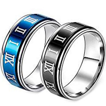 (Wholesale)Tungsten Carbide Ring With Roman Numerals-3057AA