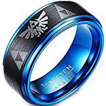 (Wholesale)Tungsten Carbide Black Blue Legend of Zelda Ring-305