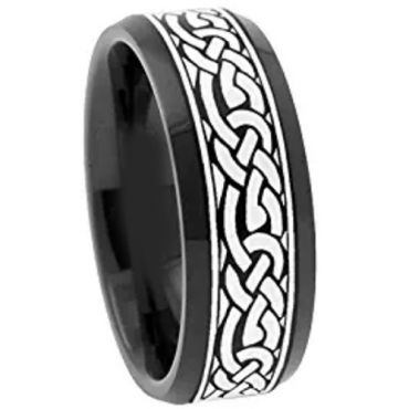 (Wholesale)Black Tungsten Carbide Celtic Ring - TG3062