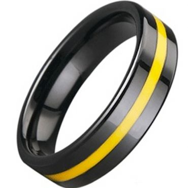(Wholesale)Black Tungsten Carbide Ring With Ceramic - TG3083A