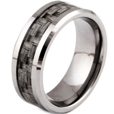 (Wholesale)Tungsten Carbide Ring With Carbon Fiber-TG3086A