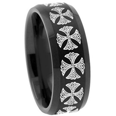 (Wholesale)Black Tungsten Carbide Cross Ring - TG3137
