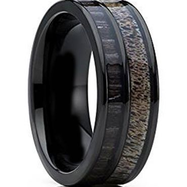 (Wholesale)Black Tungsten Carbide Deer Antler Camo Ring-3140