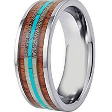 (Wholesale)Tungsten Carbide Wood Antler Imitate Turquoise Ring-3204