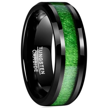 (Wholesale)Black Tungsten Carbide Maple Inlays Ring - TG3204