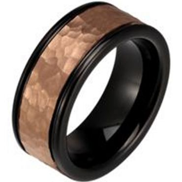 (Wholesale)Tungsten Carbide Black Rose Hammered Ring - TG3239AA