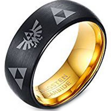 (Wholesale)Tungsten Carbide Gold Black Legend of Zelda Ring-3247