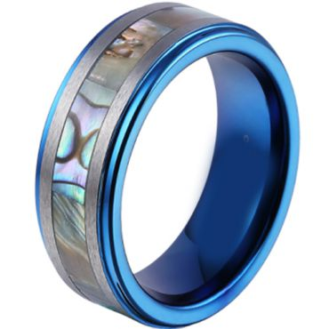 (Wholesale)Blue Tungsten Carbide Abalone Shell Ring - TG3271
