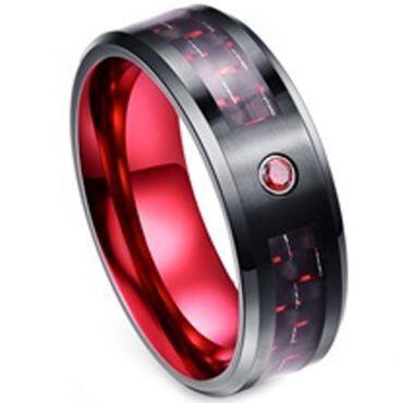 (Wholesale)Tungsten Carbide Black Red Carbon Fiber Ring - TG3280