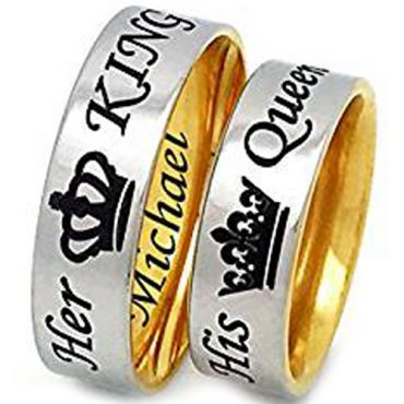 (Wholesale)Tungsten Carbide Dome King Queen Crown Ring - TG3294A