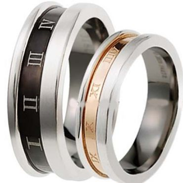 (Wholesale)Tungsten Carbide Ring With Roman Numerals - TG3323