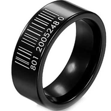 (Wholesale)Black Tungsten Carbide Barcode Ring-TG3349