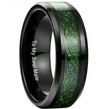 (Wholesale)Black Tungsten Carbide Dragon Ring - TG3353BB
